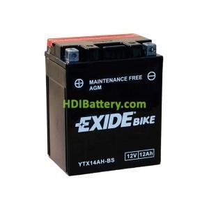 Batería AGM Exide moto YTX14AH-BS 12V. 12Ah